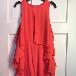Coral layered dress size small wing sleeve